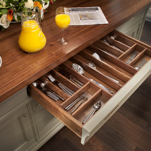 Rutt walnut utensil drawer